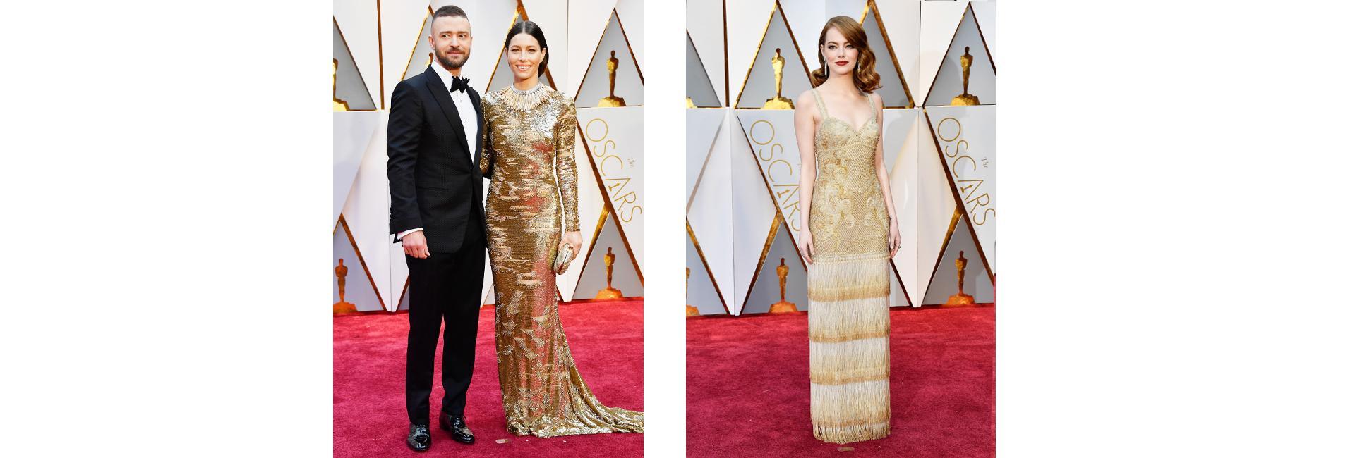 Джастин Тимберлейк и Джессика Бил в Kaufman Franco, Эмма Стоун в Givenchy Couture